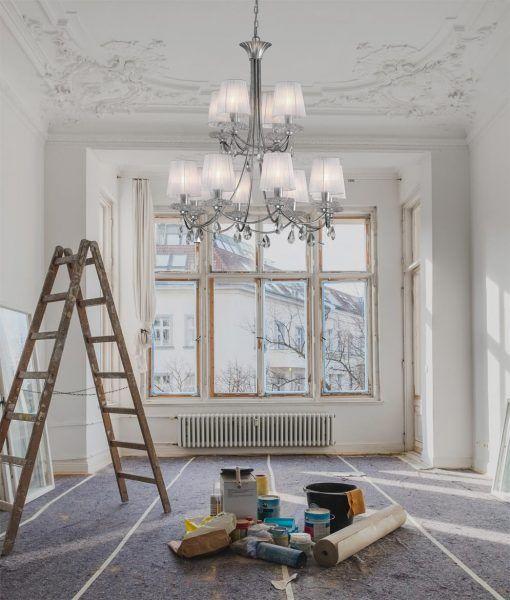 Lámpara de techo 12 luces plata SOPHIE ambiente