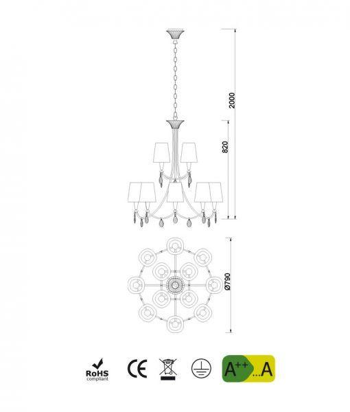 Medidas lámpara de techo 12 luces plata SOPHIE