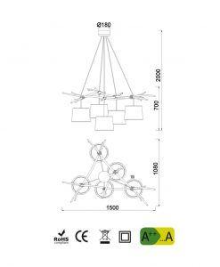 Medidas lámpara de techo 5 luces SABINA