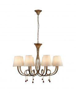 Lámpara de techo 8 luces dorado PAOLA