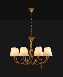 Lámpara de techo 8 luces dorado PAOLA detalle