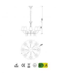 Medidas lámpara de techo 8 luces dorado PAOLA