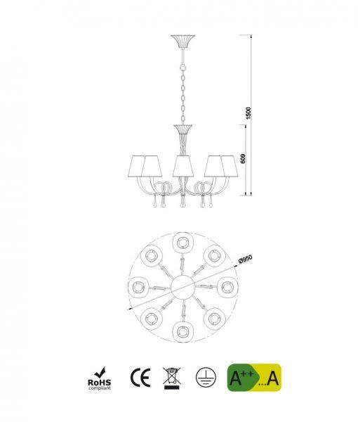 Medidas lámpara de techo 8 luces plata PAOLA