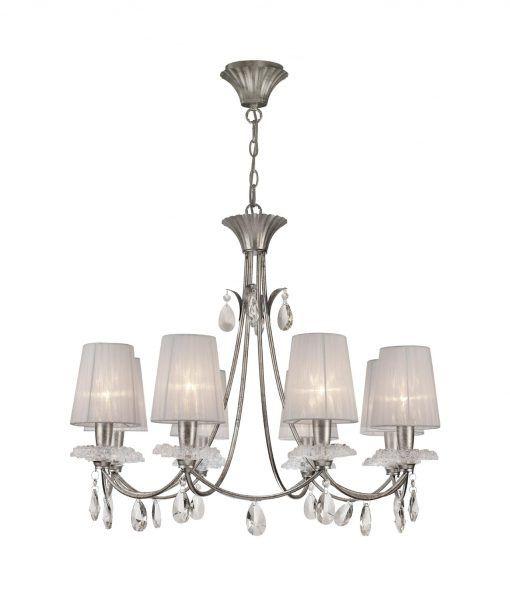Lámpara de techo 8 luces plata SOPHIE