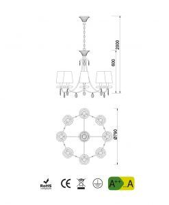 Medidas lámpara de techo 8 luces plata SOPHIE