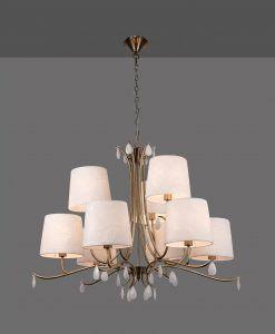 Lámpara de techo 9 luces cuero satinado ANDREA detalle