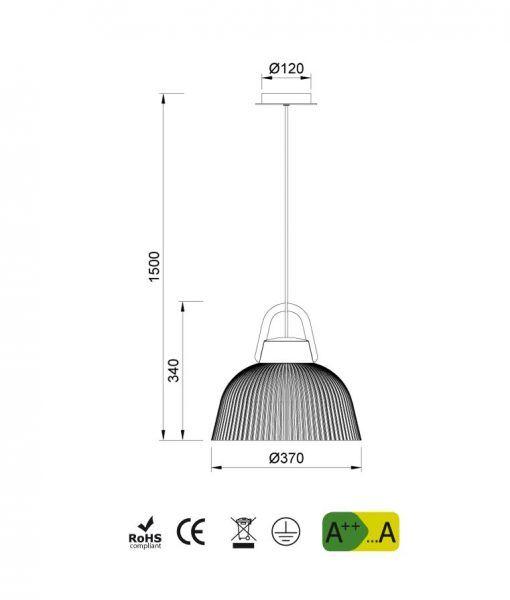Medidas lámpara de techo KINKE