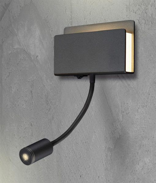 Lámpara dormitorio LED negro mate CABARETE detalle