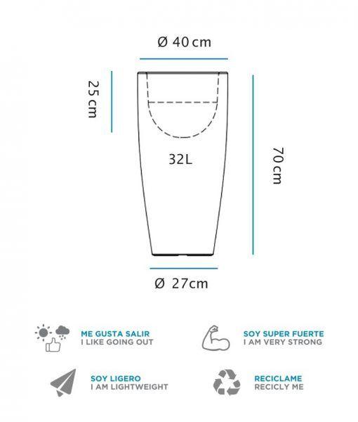 Medidas lámpara macetero cilíndrico 70 cm altura BAMBU