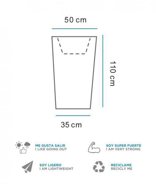 Medidas lámpara macetero luz LED 110 cm altura MELISA
