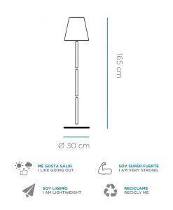 Medidas lámpara pie con altavoz de 168 cm altura LOLAYLA