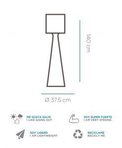 Medidas lámpara pie de 140 cm altura GRACE