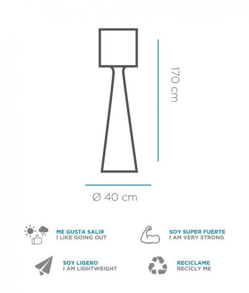 Medidas lámpara pie de 170 cm altura GRACE