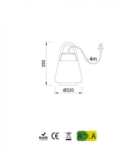 Medidas lámpara portátil IP44 KINKE