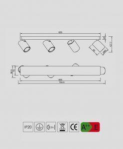 Medidas lámpara regleta con 4 focos SAL