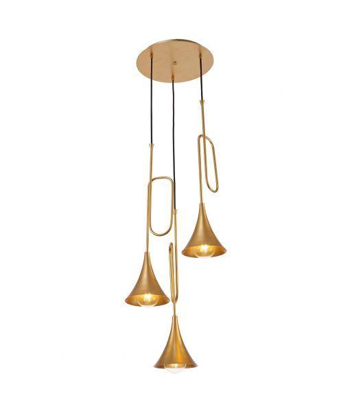 Lámpara techo 3 luces pintado oro mate JAZZ