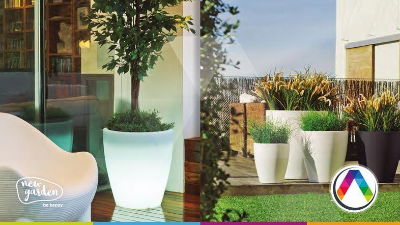 Maceteros con luz interior - Lámparas Newgarden be happy en La Casa de la Lámpara