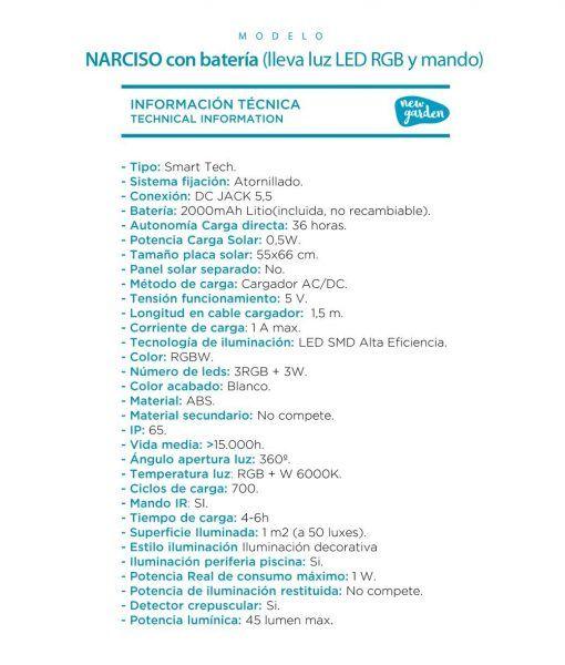 Macetero cuadrado con luz 45 cm altura NARCISO con batería