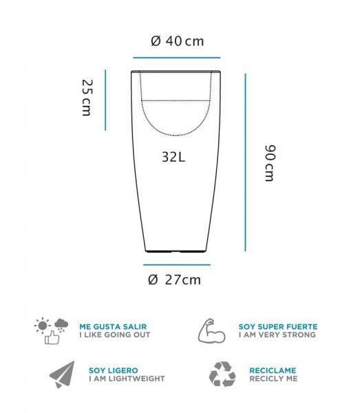 Medidas macetero lámpara cilíndrico 90 cm altura BAMBU