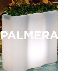 Macetero rectangular con luz PALMERA ambiente