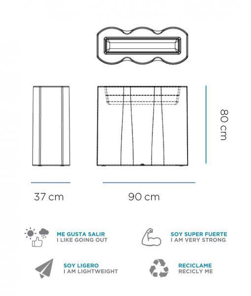Medidas macetero rectangular con luz PALMERA
