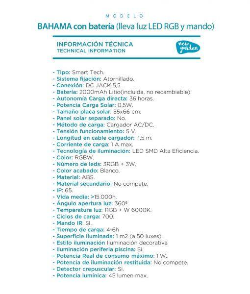 Mesa alta con luz para fiestas o cócteles BAHAMA especificaciones técnicas