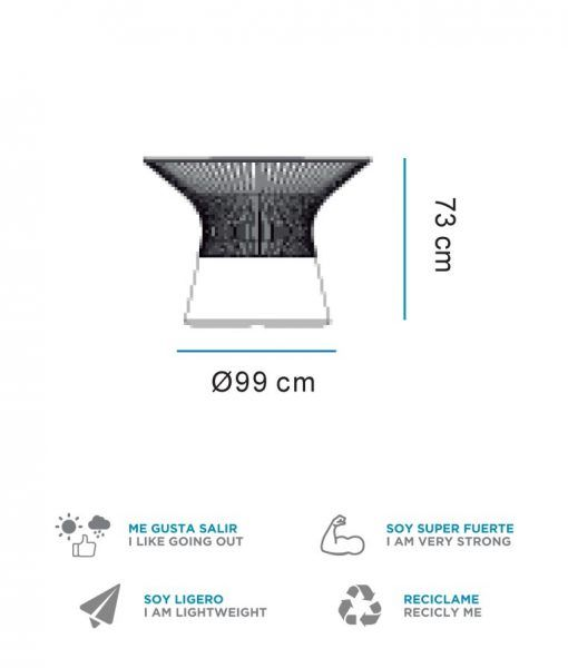 Medidas mesa central con luz 73 cm altura CAPRI