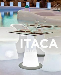 Mesa con pie central con luz LED ITACA