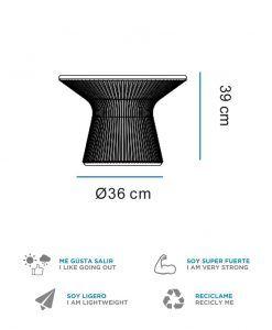 Medidas mesita baja con luz 39 cm altura CAPRI