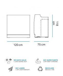 Medidas mostrador recepción con luz 120 cm de ancho SICILIA