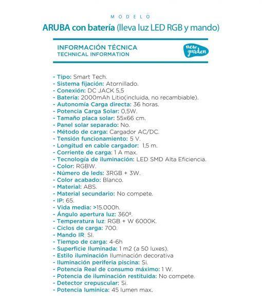 Sillón con luz ergonómico ARUBA especificaciones técnicas