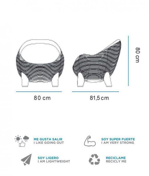 Medidas sillón con luz ergonómico ARUBA