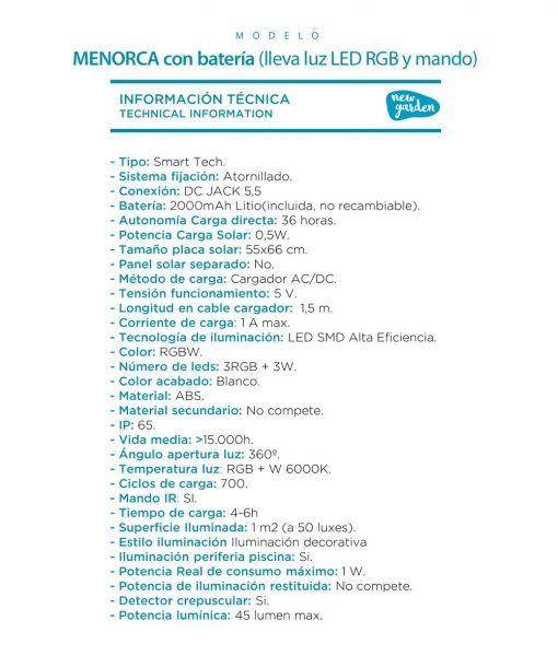 Sillón lámpara 2 plazas con luz MENORCA SOFA información técnica