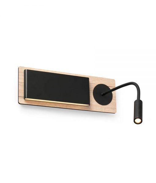 Aplique con lector LED madera y negro MOOD