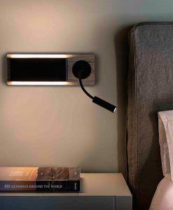 Aplique con lector LED madera y negro MOOD ambiente