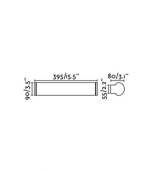 Medidas aplique de pared baño cromo 12W DANUBIO LED