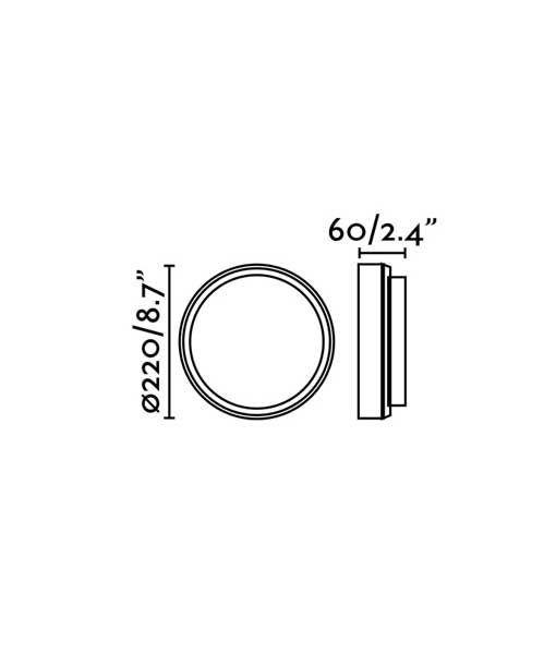 Medidas aplique de pared blanco TOM XL LED