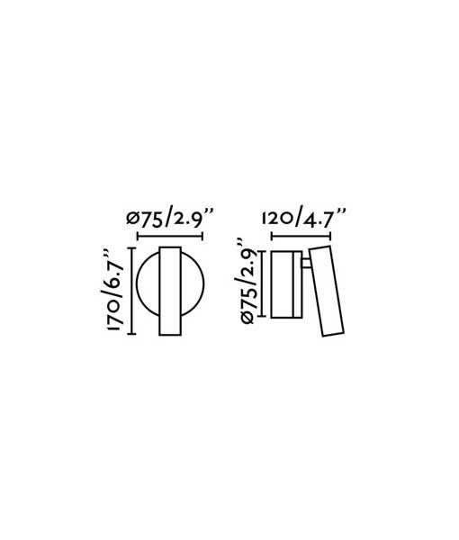 Medidas aplique lectura bronce 3W luz cálida BOC LED