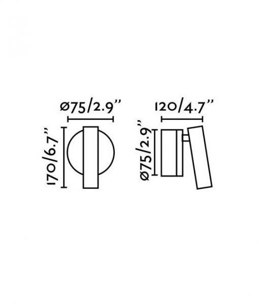 Medidas aplique lectura negro 3W luz cálida BOC LED