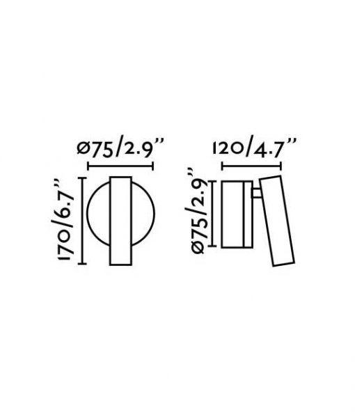 Medidas aplique lectura níquel 3W luz cálida BOC LED