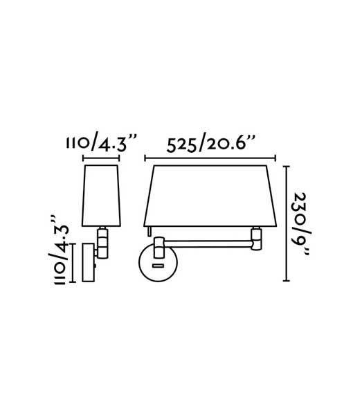 Medidas aplique níquel brazo articulado DESLIZ LED