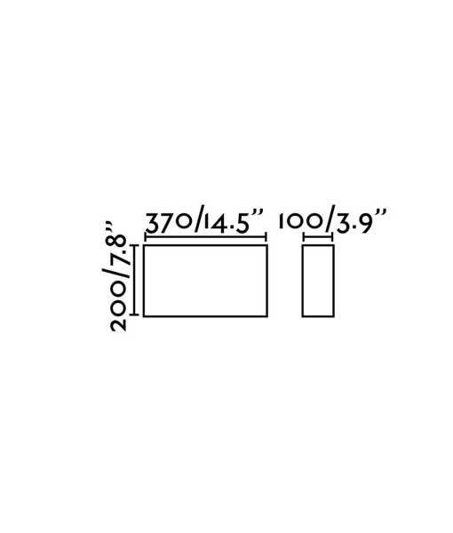 Medidas aplique rectangular de tela beige 2 luces COTTON