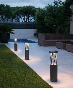Baliza 65 cm de altura gris oscuro TWIST LED ambiente