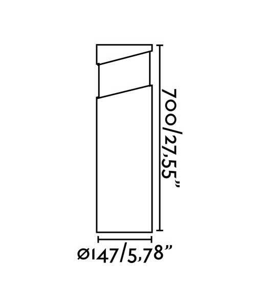 Medidas baliza cemento gris 70 cm de alto BLOCK