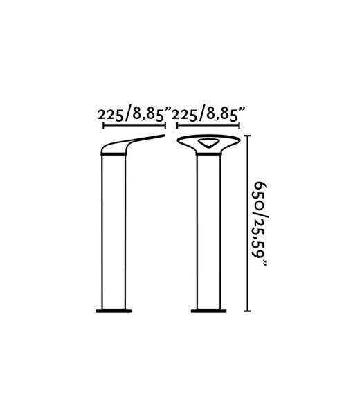 Medidas baliza gris oscura 65 cm de alto LOTUS LED