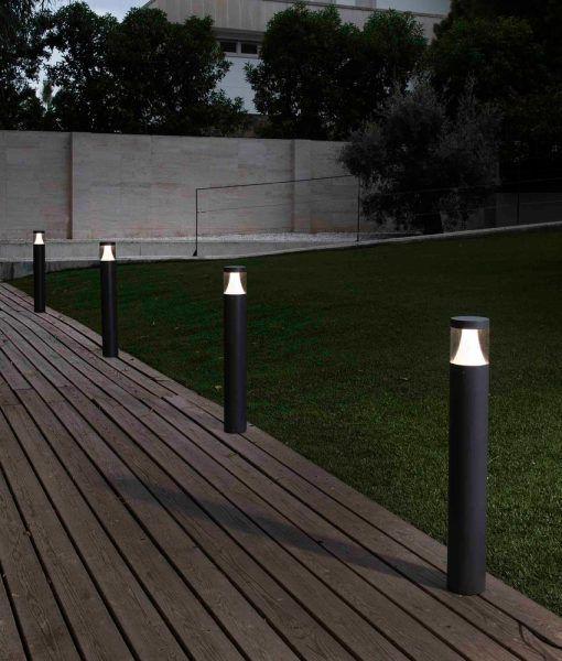 Baliza gris oscuro 65 cm altura PLIM-1 LED ambiente
