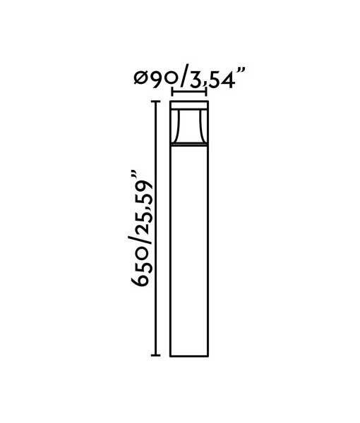 Medidas baliza gris oscuro 65 cm altura PLIM-1 LED