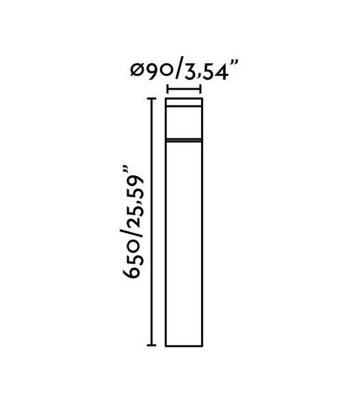 Medidas baliza gris oscuro 65 cm altura PLIM-2 LED
