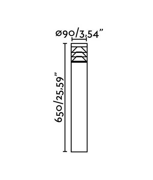 Medidas baliza gris oscuro 65 cm altura PLIM-3 LED