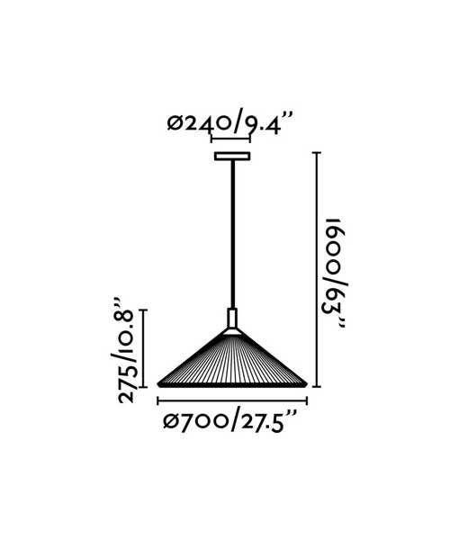 Medidas colgante blanco marfil 70 cm diámetro HUE IN